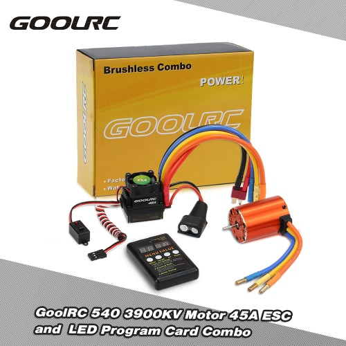 GoolRC 540 3900KV Sensorless Brushless Motor 45A ESC and  LED Program Card Combo Set for 1/10 RC Car
