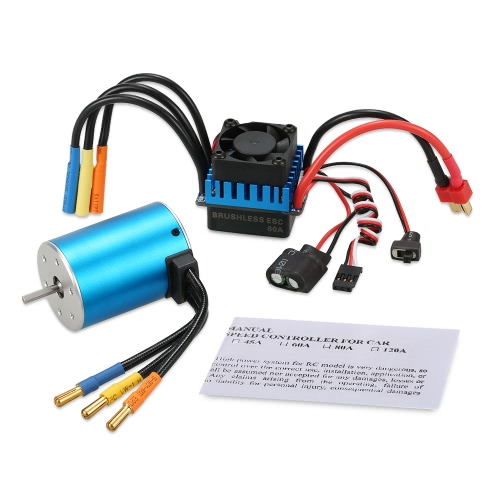 3650 3900KV Sensorless Brushless Motor with 60A Brushless ESC for 1/10 RC Car