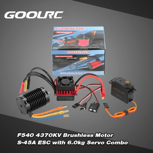 GoolRC F540 4370KV Brushless Motor S-45A ESC with 6.0kg Metal Gear Servo Upgrade Brushless Combo Set for 1/10 RC Car Truck