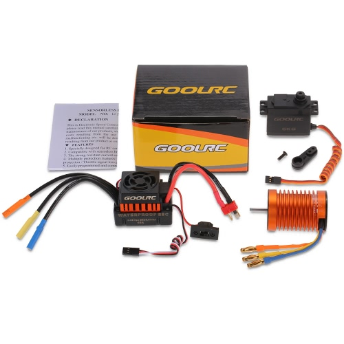GoolRC F540 3300KV Waterproof Brushless Motor 45A ESC with 6.0kg Metal Gear Servo Combo Set for 1/10 RC Car