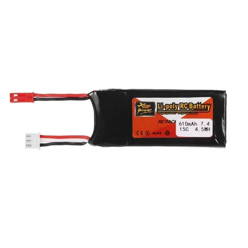 2шт ZOP Power 7.4V 610mAh 15C Lipo Battery JST Plug Part