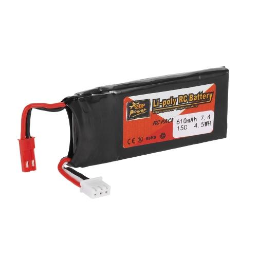 2pcs ZOP Power 7.4V 610mAh 15C Lipo Battery JST Plug