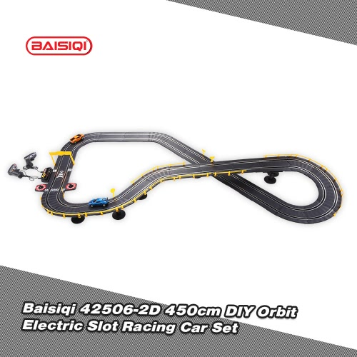 Baisiqi 42506-2D Electric Two Slot Racing Car DIY Orbit Set Self-assembled Toys for Children and Adults
