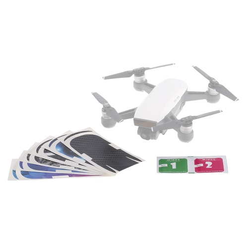 6PCS FPV Drone Protective Luxury Carbon Fiber Sticker Pele Cover Waterproof Sticker para DJI Spark RC Drone