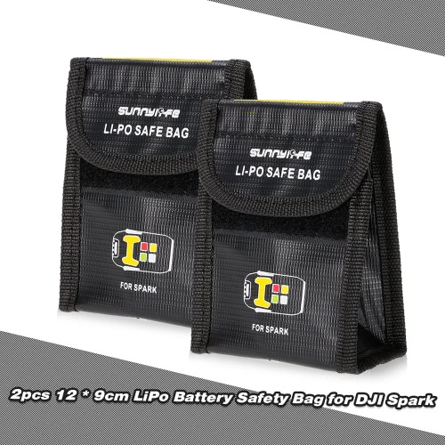 2pcs 12 * 9 * 5.5cm LiPo Battery Protective Safety Bag Anti Explosion Storage Pocket for DJI Spark FPV Quadcopter