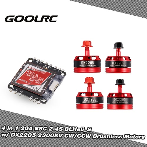 GoolRC 4 in 1 20A ESC BLHeli_S Oneshot125 Multishot and DX2205 2300KV Brushless Motor Kit for Racing Quadcopter