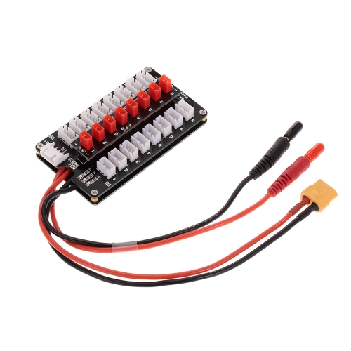 G.T.POWER 8X JST Plug 2S/3S Lipo Battery Parallel Charging Board for Balance Charger