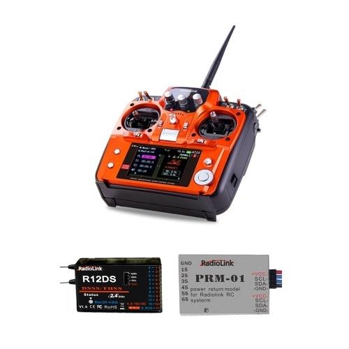 Transmisor de control remoto RadioLink AT10Ⅱ 2.4GHz 12CH y receptor R12DS 12CH y módulo de telemetría de voltaje PRM-01 para RC Drone