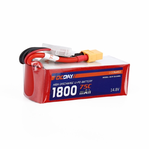 OCDAY 4S 14,8V 1800mAh 75C High Rate akumulator LiPo XT60 dla QAV220 250 280 RC FPV Racing Quadcopter Drone
