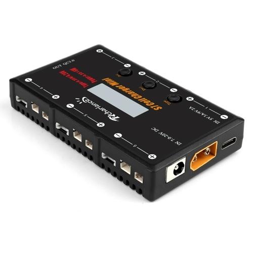 Rcharlance Caricabatterie S7 CELL Caricabatterie MINI 1S Caricabatterie 6x4.35W LiPO LiHV Caricabatterie con USB Micro MCX mCPX MOLEX