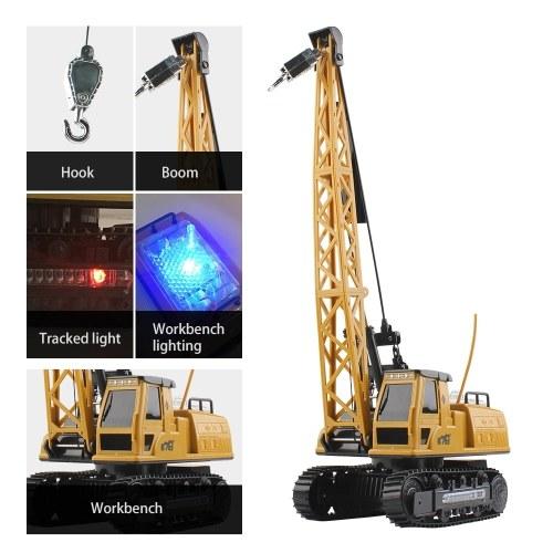 Remote Control Electric Construction Crane Music Sound Colorful Light 360 Degree Rotation