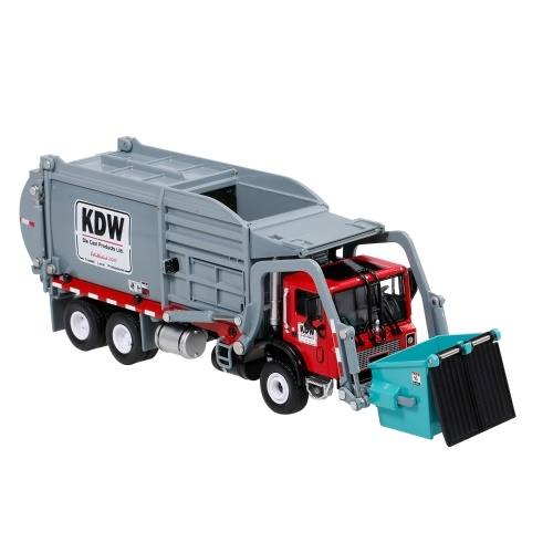 1:24 Alloy Diecast Barreled Garbage Carrier Truck Waste Material Transporter Vehicle Mod Collector Hobby Toys Image