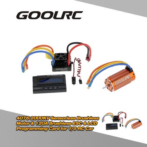GoolRC 4076 2000KV Sensorless Brushless Motor & 120A Brushless ESC with 6V/3A Switch Mode BEC & LCD Programming Card Combo Set for 1/8 RC Car