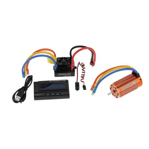 GoolRC 4076 2000KV Sensorless Brushless Motor y 120A sin escobillas ESC con 6V / 3A Modo de conmutación BEC y LCD Programming Card Combo Set para 1/8 RC Car