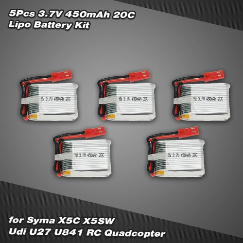 5Pcs 3.7V 450mAh 20C Lipo Battery Kit for Syma X5C X5SW Udi U841 RC Quadcopter