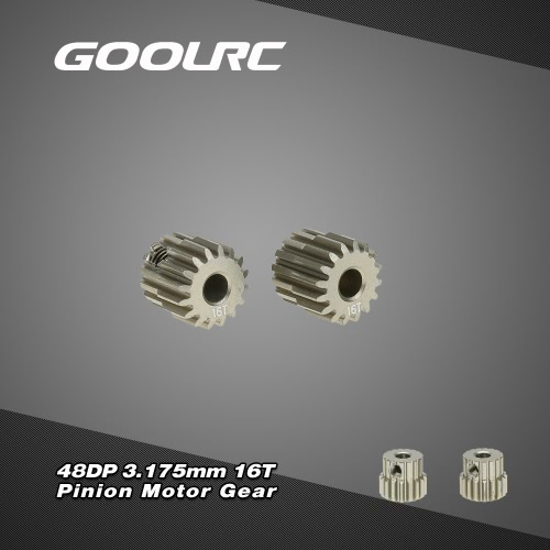 GoolRC 2Pcs 48DP 3.175mm 16T Pinion Motor Gear for RC Car Brushed Brushless Motor