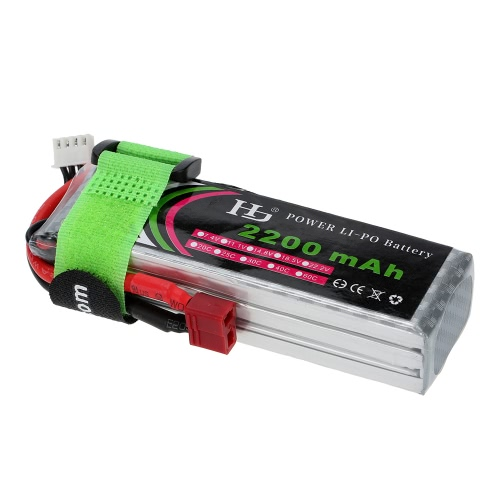 11.1V 2200mAh 25C 3S LiPo Battery with T Plug for RC Quadcopter Airplane Helicopter Car Truck Boat Hobby