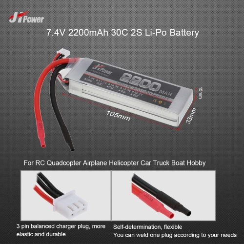 JHpower 7.4V 2200mAh 30C 2S Li-Po Battery for  RC Quadcopter Airplane Helicopter Car Truck Boat Hobby