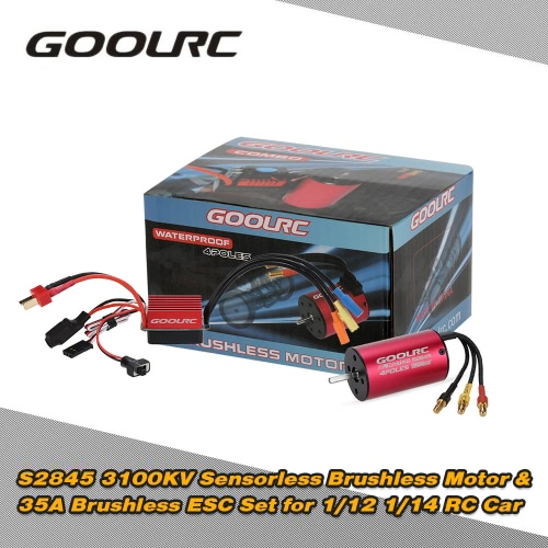 Original GoolRC S2845 3100KV Sensorless Brushless Motor and 35A Brushless ESC Combo Set for 1/12 1/14 RC Car Truck