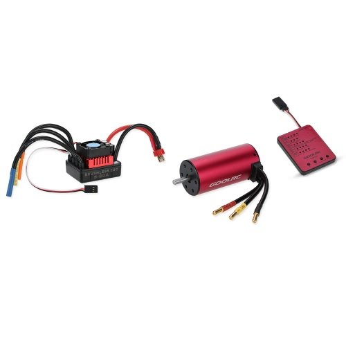 GoolRC S3674 2250KV Sensorless Brushless Motor 80A Brushless ESC e Program Card Combo Set para 1/8 RC Car Truck