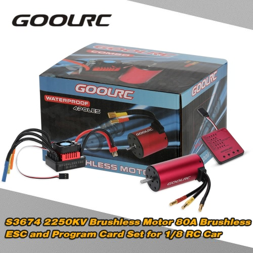 GoolRC S3674 2250KV Sensorless Brushless Motor 80A Brushless ESC and Program Card Combo Set for 1/8 RC Car Truck