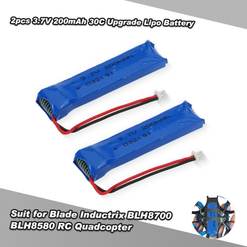 2 Stück 3,7V 200mAh 30C Upgrade-Lipo Akku für Blade-Inductrix Tiny Whoop BLH8700 BLH8580 RC Drone Quadcopter