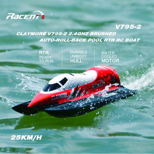 Original 2.4GHz Volantex CLAYMORE V795-2 brossé 25 kmh High Speed ​​Auto-roll-back Piscine RTR RC Racing Boat