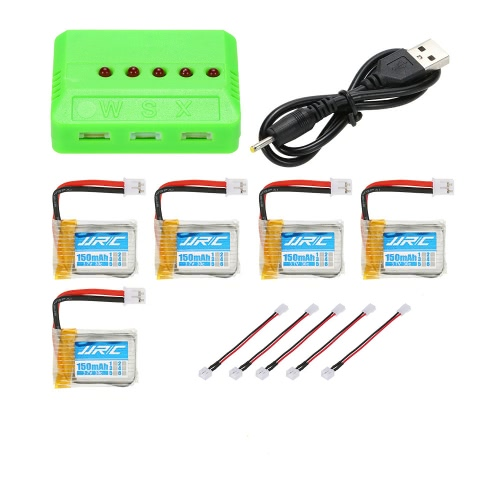 5pcs Original JJRC 3.7V 150mAh 30C Lipo Batteries with 5 in 1 Battery Charger