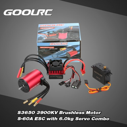 GoolRC S3650 3900KV Brushless Motor S-60A ESC with 6.0kg Metal Gear Servo Upgrade Brushless Combo Set for 1/10 RC Car Truck
