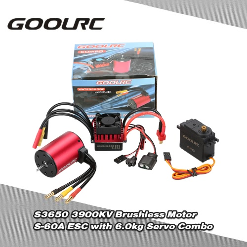 GoolRC S3650 3900KV Brushless silnika S-60A ESC z 6.0kg Metal Gear Servo Upgrade Brushless Combo Set for 1/10 RC Car Truck