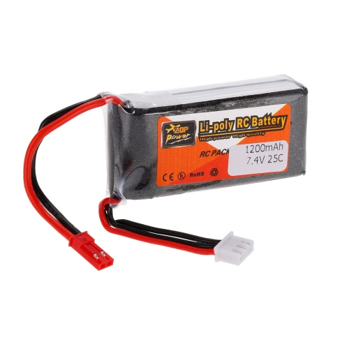ZOP Power 2S 7.4V 1200mAh 25C JST Plug LiPo Battery JST Plug
