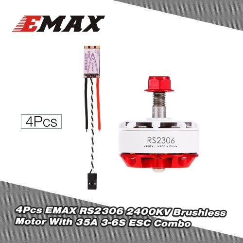4pcs Original EMAX RS2306 2400KV White Race Special Edition Brushless Motor 35A ESC Combo For FPV RC Quadcopter