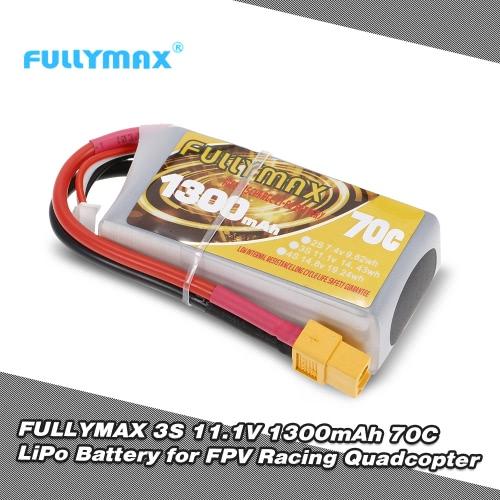 FULLYMAX 3S 11.1V 1300mAh 70C High Rate XT60 Plug LiPo Battery for QAV210 250 LS180 FPV Racing Quadcopter RC Car Boat
