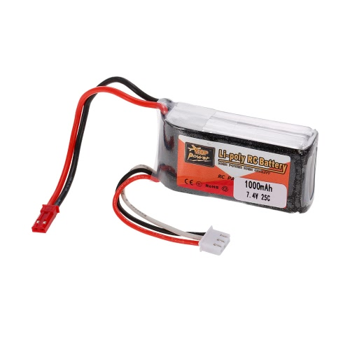 ZOP Power 2S 7.4V 1000mAh 25C JST Plug LiPo Batería para 150 180 210 Racing Drone RC Quadcopter Car Boat
