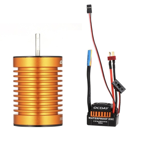 OCDAY 10T 3930KV 4 Poles Sensorless Brushless Motor and Waterproof 60A Sensorless Brushless Car ESC for 1/10 RC Car Truck Boat
