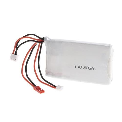 Batería Lipo 2S 7.4V 2000mAh 8C Lipo Batería para FrSky TARANIS Q X7 2.4G ACCST 16CH Control remoto RC Transmisor
