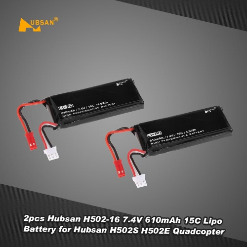 2pcs  Hubsan H502-16 7.4V 610mAh 15C Lipo Battery for Hubsan X4 H502S H502E RC Quadcopter