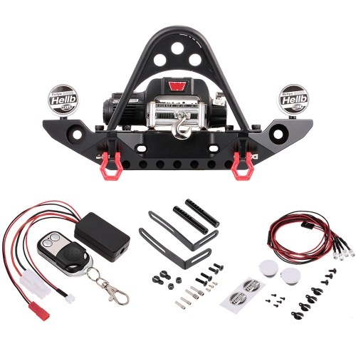 Metal Front Bumper Bar w/ 9.5CTI Winch and LED Headlights Wireless Remote Controller Receiver