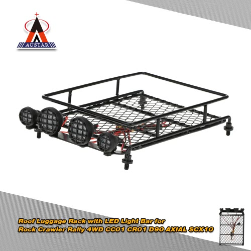 Original Austar Roof Luggage Rack with LED Light Bar for 1/10 1/8 RC Cars Rock Crawler Rally 4WD CC01 CR01 D90 AXIAL SCX10