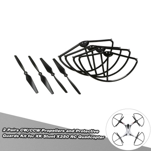 4 Pairs CW/CCW Propellers and 4pcs Protective Guards Kit for XK Stunt X350 RC Quadcopter