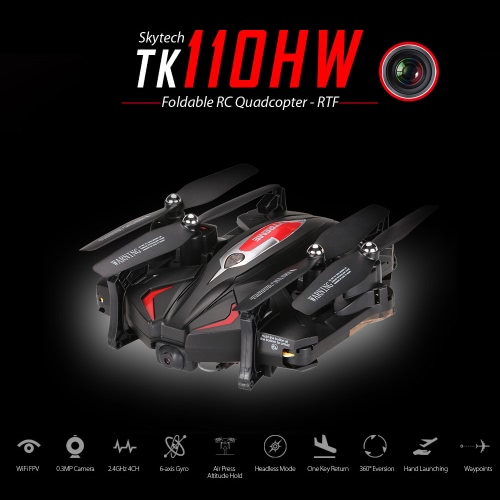 Skytech TK110HW Wifi FPV  Foldable RC Quadcopter with 0.3MP Camera Flight Plan Route App Control Altitude Hold Function Drone RTF