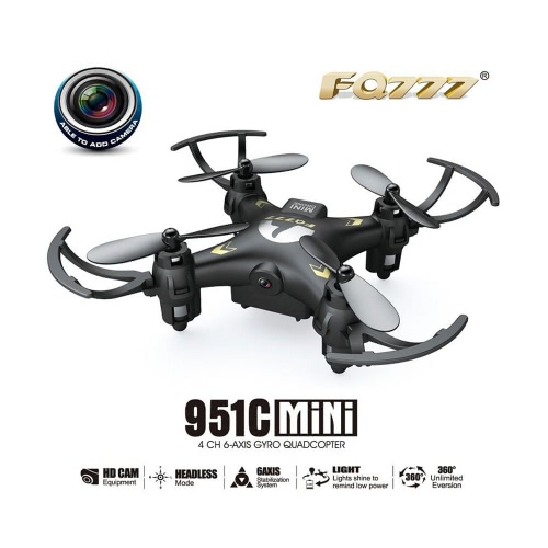 Original FQ777 951C 2.4GHz 4CH 6-Axis Gyro 0.3MP Camera Mini RC Quadcopter RTF with Headless Mode 3D-flip
