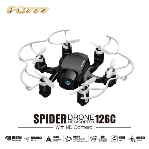 Oryginalny FQ777 126C 2,4GHz 4CH 6-Axis Gyro 2MP aparat Pająk Drone RC Hexacopter RTF z CF trybie 3D Flip-One-key Return Function