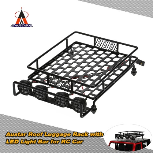 Original Austar AX-515B Roof Luggage Rack with LED Light Bar for 1/10 1/8 CC01 CR01 D90 AXIAL SCX10 RC Cars Rock Crawler