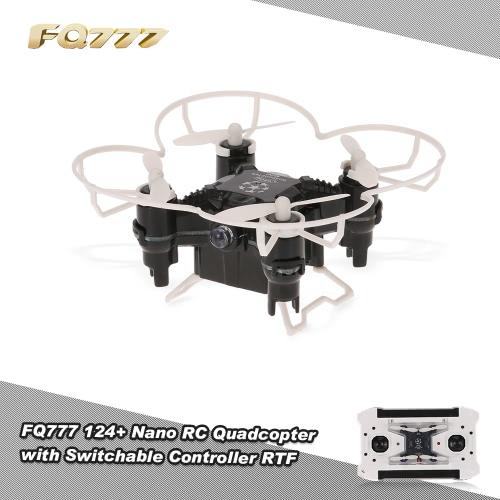 FQ777 original 124+ nano 2.4G 4 canales 6 Axis Gyro RC Quadcopter con conmutable Controlador y sin cabeza Modo RTF bolsillo aviones no tripulados