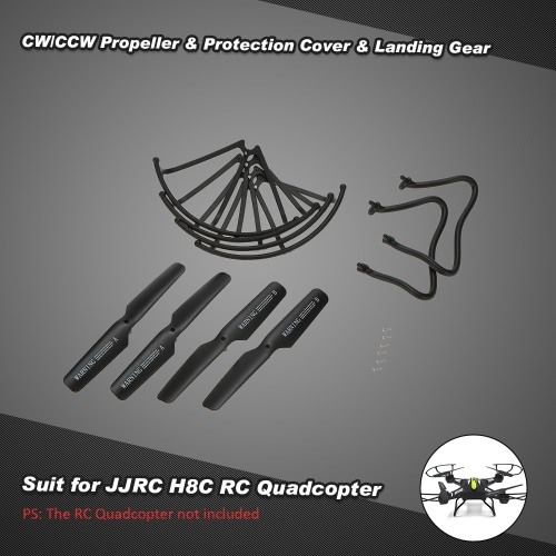 2 pairs CW/CCW Propeller & 4 Pcs Protection Cover & 2 Pcs Landing Gear for JJRC H8C H8D H12C H12W & DFD F181 F182 F183 RC Quadcopter