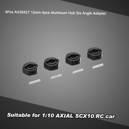 4Pcs AX30427 12mm Aluminum Hub Six Angle Adapter for 1:10 AXIAL SCX10 RC Car
