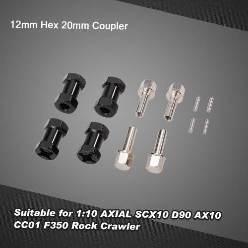 4Pcs D10058 Upgrade Part 12mm Hex 20mm Coupler for 1:10 AXIAL SCX10 D90 AX10 CC01 F350 Rock Crawler RC Car