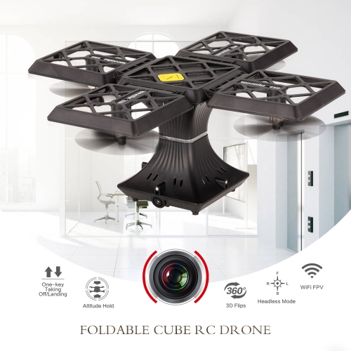 720P Camera Wifi FPV Foldable Cube Drone Headless Mode Altitude Hold G-sensor Quadcopter