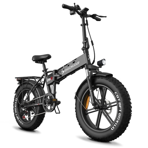 DOCROOUP 20Inch Folding Electric Bike with Turn Signals Brake Light